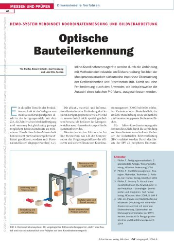 Optische Bauteilerkennung - QZ-online.de