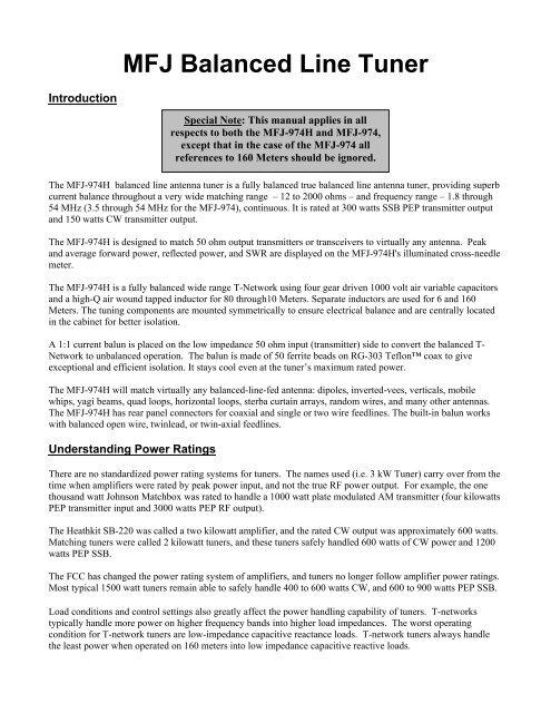 MFJ Balanced Line Tuner - Thiecom