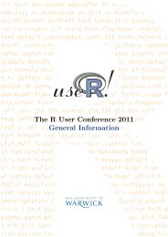 The R User Conference 2011 General Information - University of ...