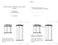 Flexible, optimal matching for observational studies Outline