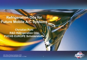 Refrigeration Oils for Future Mobile A/C Systems