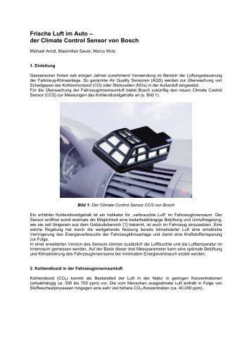 Frische Luft im Auto – der Climate Control Sensor von Bosch