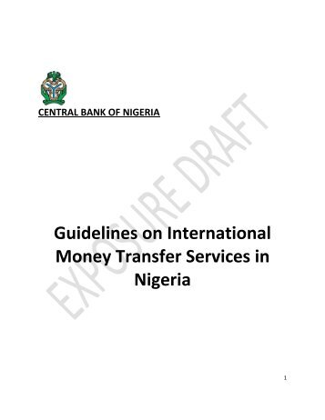 Guidelines on International Money Transfer Services Exposure Draft