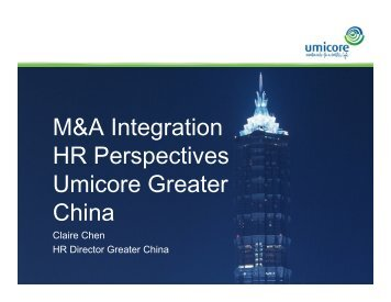 M&A Integration HR Perspectives Umicore Greater China