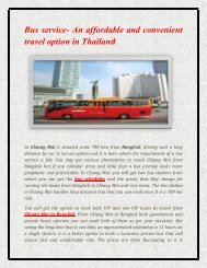 Bus service- An affordable and convenient travel option in Thailand