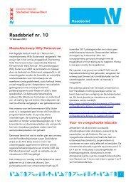 Raadsbrief nr. 10 - Deelraad Nieuw-West