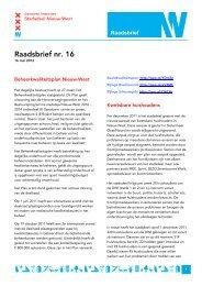 Raadsbrief nr. 16 - Deelraad Nieuw-West