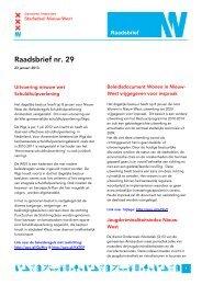 Raadsbrief nr. 29 - Deelraad Nieuw-West