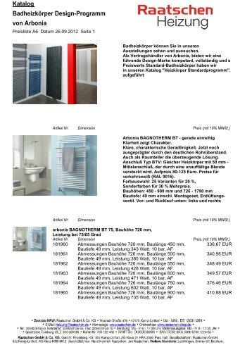 Katalog Badheizkörper Design-Programm von Arbonia
