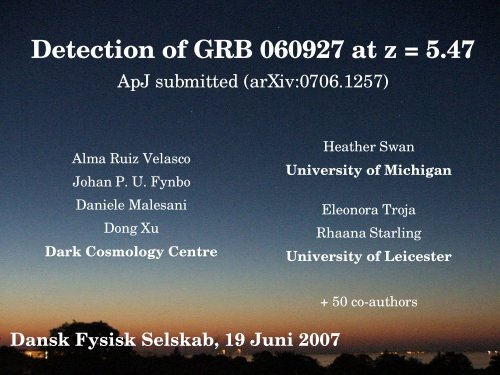 GRB 060927 at very high redshift
