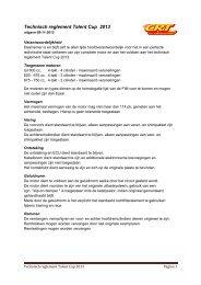 Technisch reglement Talent Cup 2013 - CRT
