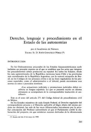 Derecho, lenguaje y procedimiento en el Estado de las autonomías