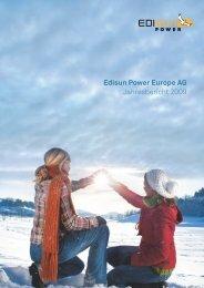 Edisun Power Europe AG Jahresbericht 2009