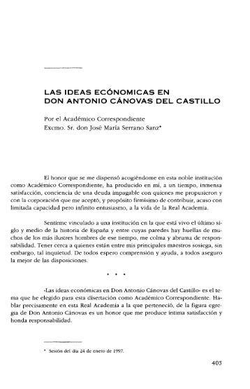 Las ideas económicas de D. Antonio Cánovas del Castillo