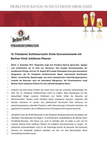 Echte Genussmomente mit Berliner Kindl Jubiläums Pilsener