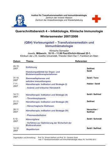 Querschnittsbereich 4 – Infektiologie, Klinische Immunologie ...