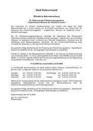 Öffentliche Bekanntmachung der Offenlage - Stadt Radevormwald