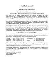 hier: Öffentliche Bekanntmachung der Offenlage - Stadt ...