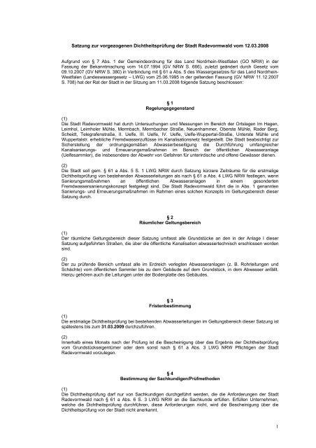 Öffentliche Bekanntmachung der Satzung zur vorgezogenen ...
