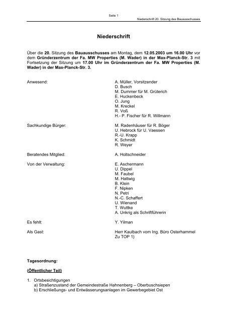 Niederschrift der 20. Sitzung vom 12.05.2003 - Stadt Radevormwald