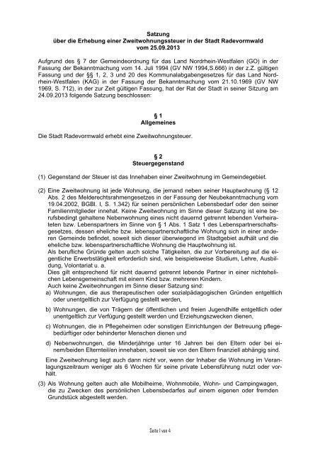 Satzung über die Erhebung einer Zweitwohnungssteuer in der Stadt ...
