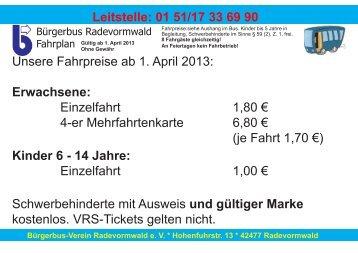 Leitstelle: 01 51/17 33 69 90 Unsere Fahrpreise ab 1. April 2013 ...