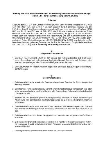 Gebührensatzung für den Rettungsdienst - Stadt Radevormwald