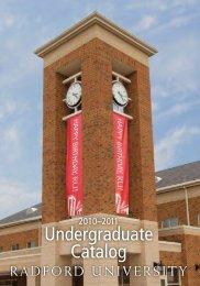 Radford University Undergraduate Catalog, 2010-2011