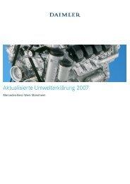 Daimler AG, Werk Mannheim, Aktualisierte Umwelterklärung 2007