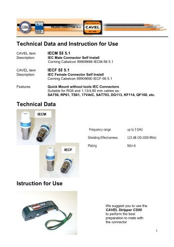 Technical Data and Instruction for Use Technical Data Istruction for ...