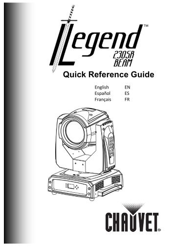 Legend™ SR230 Beam Quick Reference Guide, Rev. 3, Multi ...