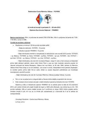 29 iulie 2012 Diploma Ziua Imnului Na - Radioamator.ro