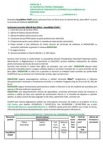 Anexa 2 – Tipul serviciului contractat, descriere, locatii ... - Radiocom