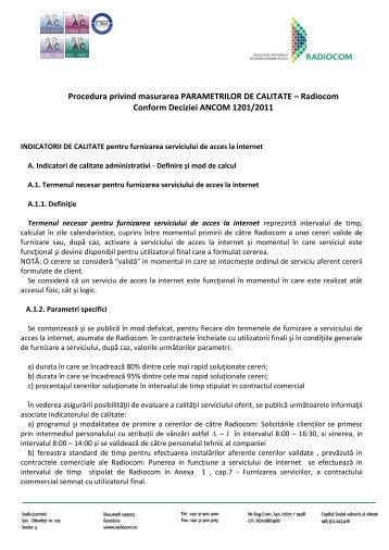 Procedura privind masurarea PARAMETRILOR DE ... - Radiocom