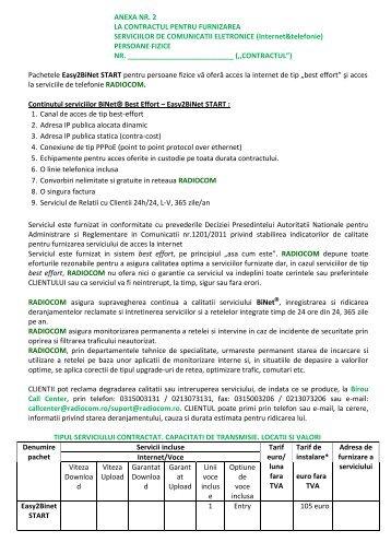 ANEXA NR. 2 LA CONTRACTUL PENTRU ... - Radiocom