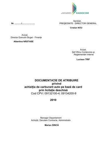 Documentatie Atribuire achizitie carburant auto - Radiocom