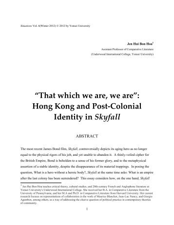 """""""That which we are, we are"""": Hong Kong and Post-Colonial Identity ..."""
