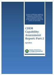 CDEM Capability Assessment Report: Part 2 - Ministry of Civil ...