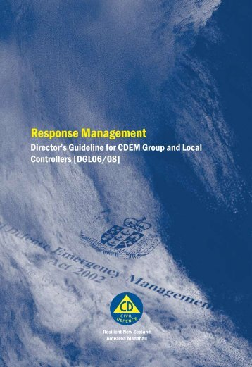Response Management Director's Guideline for CDEM Group and