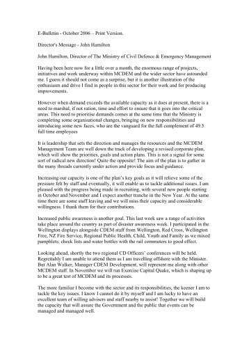 E-Bulletin - October 2006 – Print Version. Director's Message - John ...