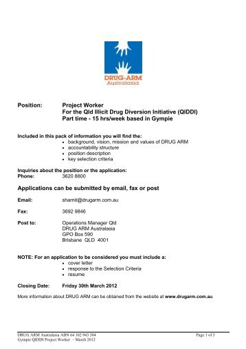 Position: Project Worker For the Qld Illicit Drug Diversion ... - Drug Arm