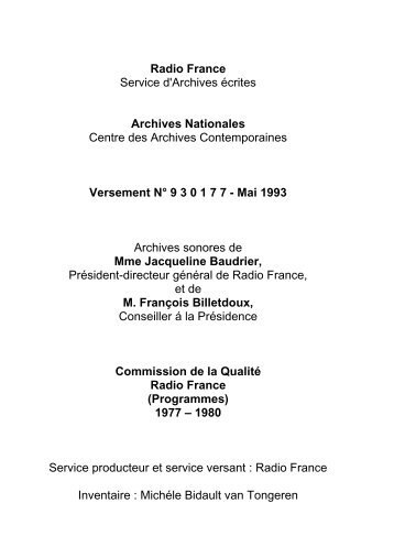 Versement Archives nationales n°19930177 - Radio France