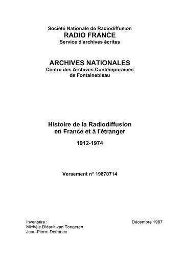 sommaire du Versement Archives nationales n ... - Radio France