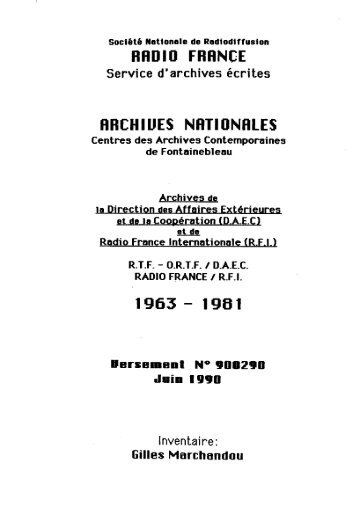 Versement Archives nationales n°19000290 - Radio France