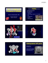 Imaging Hip Problems in Athletes - University of Wisconsin-Madison