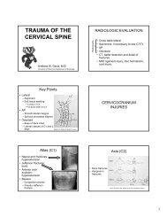 TRAUMA OF THE CERVICAL SPINE - Department of Radiology