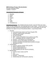 MSK US Exam Protocol Standardization