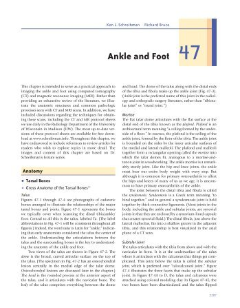 Ankle and Foot 47 - Department of Radiology - University of ...