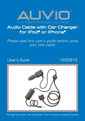 AUVIO Audio Cable with Charger for iPod/iPhone - Radio Shack