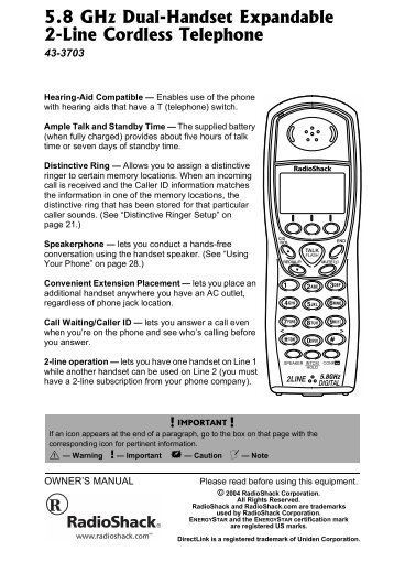 5.8GHz Digital 2-Line Cordless Phone with Caller ID - Radio Shack